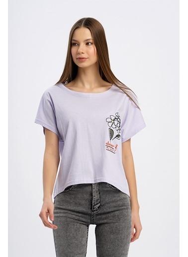Nismia Papatya Nakışlı Yarasa Tshirt Lila